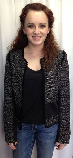 black and white tweed gives this jacket a classic look!