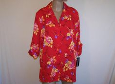 IMPRESSIONS Sz L Shirt Top Blouse Red Floral Button Front Roll Up Sleeves NWT #Impressions #ButtonDownShirt #Casual