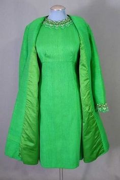 1960s vintage cocktail dress with matching coat in an electric green silk