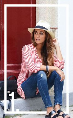 A striped blouse, distressed jeans, panama hat, slides Fashion Mode, Look Fashion, Fashion Hats, Blue Fashion, Fashion Outfits, Fashion Trends, Distressed Jeans, Summer Outfits, Casual Outfits