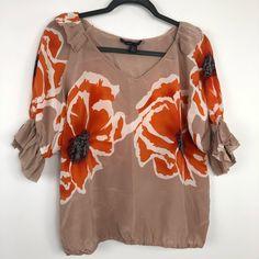 Anna Sui Tops - Anna Sui Floral Ruffle Sleeve Silk Blouse