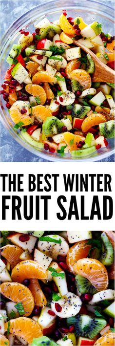 The Best Winter Fruit Salad is filled with clementines, kiwi, pears, apples, and pomegranate. It gets tossed in a delicious honey lime poppyseed dressing and you won't be able to get enough!