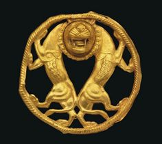 Achaemenid Gold Roundel c. Century BC With two addorsed rampant lions, their hindquarters touching, necks joined by a single head with jaws gaping, teeth bared and tongue protruding, mane and. Ancient History, Art History, Antique Gold, Antique Jewelry, Sassanid, Achaemenid, Art Ancien, Ancient Persian, Ancient Near East