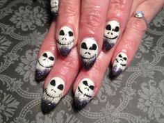 Halloween, black and white, glow in the dark, gel nails