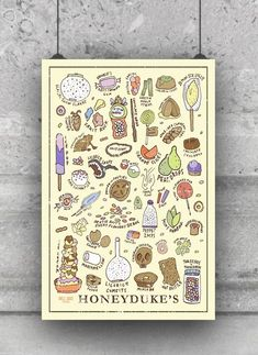 Harry Potter Harry Potter Inspired Honeyduke's Sweet Shop Poster - Print Details: print light yellow background (color varies based on computer screen) small Well Said Creations logo printed on bottom left side (under the ice cream) Harry Potter Tattoos, Harry Potter Facts, Harry Potter Books, Harry Potter Characters, Sweet Drawings, Harry Potter Bedroom, Anniversaire Harry Potter, Harry Potter Cosplay, Harry Potter Collection