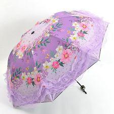 As Mulheres chuva/Sombrinha Transparente Dobrável Compacto Guarda-sol Rendas anti-UV Guarda-chuvas Hot
