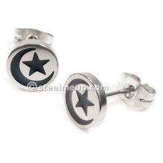 Pair Stainless Steel Silver Black Moon Star Post Stud Earrings 8mm