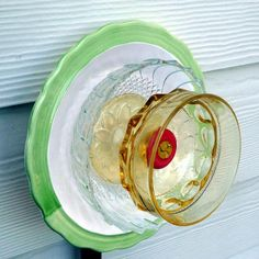 Garden art glass flower plate flower vintage glass by RecycleRoom
