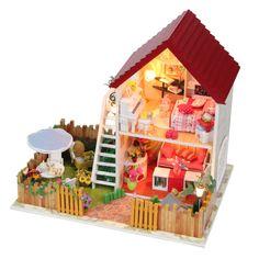 2013 DIY wooden miniature furniture doll house with garden mini vila doll house $18.9~$22.9
