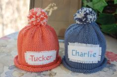 Monogrammed Hat Knit Preemie-Newborn Baby Boy the perfect gift for the new parents hospital gift CHOICE OF COLOR