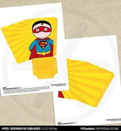 Superhero printable pop corn boxes inspired by by eltendedero