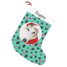 Pet dog Photo Name Paw prints on green Small Christmas Stocking | Zazzle.com