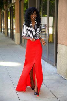 Striped shirt + slit maxi skirt = LOVE!