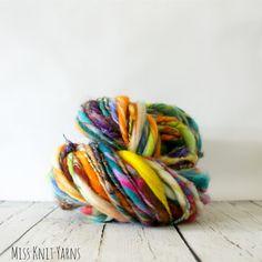 rainbow wool yarn, handspun, hand dyed, merino wool, art yarn, slub yarn .. geode Spinning Yarn, Hand Spinning, Yarn Inspiration, Wool Yarn, Merino Wool, Hand Dyed Yarn, Yarn Crafts, Textiles, Knit Crochet