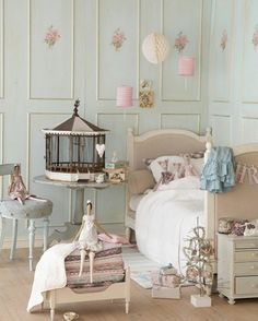 By casa Montiel . I love the headboard and blue washed walls