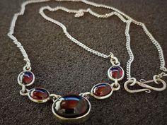 Garnet Jewelry, Garnet Necklace, Garnet Gemstone, Gemstone Necklace, Simple Necklace, Unique Necklaces, Red Garnet, Sterling Silver Necklaces, Necklace Lengths