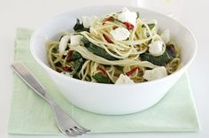 Goat's cheese, spinach and chilli pasta main image