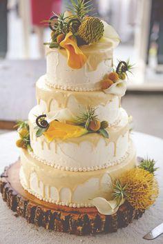 Lemon and White Chocolate Wedding Cake | Feather Love Weddings | TheKnot.com