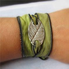 Silk Wrap Bracelet Silver Ribbon Bracelet by EarthshineDesigns1, $41.00