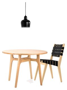 JENS RISOM BLACK CHAIR ASH TABLE AALTO BELL LAMP by suburbanmodern on Polyvore featuring interior, interiors, interior design, home, home decor, interior decorating, Dot & Bo, Knoll and Artek