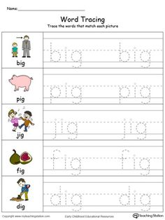 **FREE**Word Tracing: OG Words in Color. Encourage your child to start writing short words with the help of this fun word tracing printable worksheet. Handwriting Practice Worksheets, Alphabet Tracing Worksheets, Phonics Worksheets, Reading Worksheets, Kindergarten Worksheets, Homeschool Kindergarten, Alphabet Activities, Preschool Classroom, Infant Activities