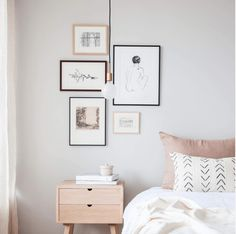 Amongst numerous styles of bed room decoration, modern styles have attracted large attention. They often come with sleek, simple, yet clean impression. Bedroom Frames, Gallery Wall Bedroom, Bedroom Wall, Bed Room, Master Bedroom, White Bedroom, Nordic Bedroom, Pretty Bedroom, Bedroom Plants