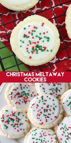 christmas treats Meltaway cookies are a soft, lightly sweet shortbread cookie that literally melts away in your mouth. Top it with a thin glaze and red and green sprinkles for a festive Christmas cookie treat. Christmas Sugar Cookies, Christmas Snacks, Christmas Cooking, Holiday Treats, Holiday Recipes, Christmas Parties, Dinner Recipes, Christmas Time, Christmas Sprinkles
