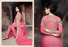 Pink Net Pant Style Salwar Suit 44817