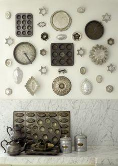 vintage baking pans ... kitchen wall art ... gray ... silver ...white