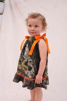 Baby girl camo dress, Camo Wedding, Flower girl dress, Mossy oak pillowcase dress. $27.50, via Etsy.