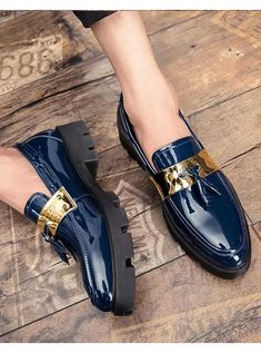 Men's #blue leather slip on #DressShoes with tassel buckle decorated design, casual, leisure, work, office, business occasions.