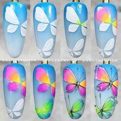 Nail Art Designs, Design Art, Butterfly Nail Art, Abstract Nail Art, Nail Art Hacks, Accent Nails, Beautiful Nail Art, Nail Tech, Summer Nails