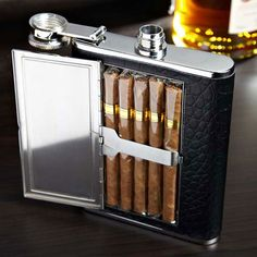 The Textured Black Leather Cigar Flask holds a perfect 6oz of your preferred libation along with your favorite stogies.