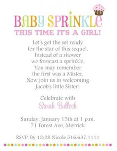 Pink Cupcake Sprinkle Baby Shower Invitation with bright stripes and sweet cupcake with sprinkles for parents expecting