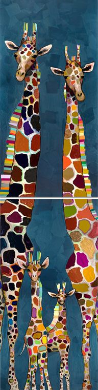 'Giraffe Family Diptych' by Eli Halpin Painting Print on Canvas Giraffe Family, Giraffe Art, Contemporary Wall Art, Art Plastique, African Art, Painting Inspiration, Art Lessons, Painting Prints, Illustration