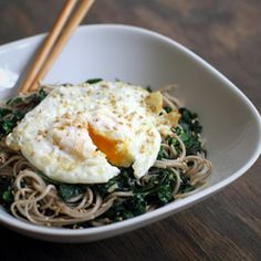 Kale Sesame Soba Noodles Topped with a Fried Egg by dashoffeast #Noodles #Soba #Kale #Egg #Healthy