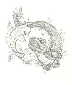 koi and dragon tattoo by Inu87.deviantart.com on @deviantART