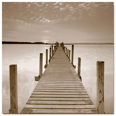 Sunset Pier, Sepia (Square) - Willem's Art