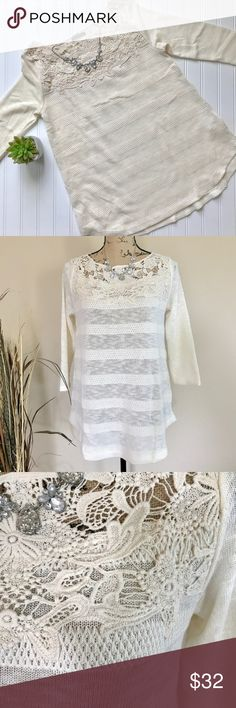 """Ivory crochet neck sweater Ivory crochet yoke sweater, alternating slub and triangle knits. Crew neckline, 3/4 length sleeves, curved hem. Size S. 48% cotton 48% polyester 4% spandex. Approx measurements, bust 18"""", length 27"""". Sweaters Crew & Scoop Necks"""
