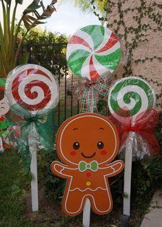 Christmas Lollipops yard decorations | Etsy Gingerbread Christmas Decor, Candy Land Christmas, Outside Christmas Decorations, Christmas Yard Art, Decorating With Christmas Lights, Christmas Wood, Christmas Time, Holiday Decorations, Country Christmas