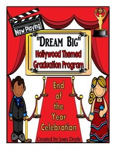 "Newest Graduation or End-of-the-Year Celebration Program. Roll out the red carpet for this adorable Hollywood Theme Celebration! The songs included in this unit are upbeat with original lyrics that I wrote.  Included in the program are five songs, poems, and a total of twenty speaking parts. This program can be modified to fit your needs. Also included are award certificates, ""walk of fame"" art project, program covers or posters and much, much more."