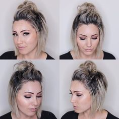 "top knot for short hair. soft bob haircut, Easy hairstyles, "" top knot for short hair. soft bob haircut Source by BrookePasikow. Short Bob Hairstyles, Short Bob Updo, Hairstyles For Short Hair Easy, Styling Short Hair Bob, Bob Haircuts, Hairstyles 2016, Bob Hairstyles How To Style, Celebrity Hairstyles, Vintage Hairstyles"