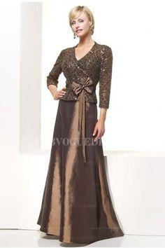 A-Line/Princess V-neck Floor-length Taffeta Mother of the Bride Dress
