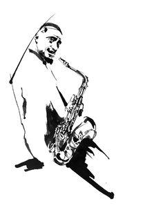Sonny Rollins - black & white ink illustration by Eri Griffin http://www.erigriffin.com/