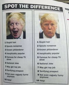 We have a really good man who is going to be the prime minister of the UK, Boris Johnson, Donald Trump enthused yesterday. They call him Britain Trump. The Quiz Show, Trump Card, Expressions, Pinterest For Business, Political Cartoons, Political Memes, Satire, Funny Pictures, Jokes