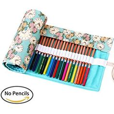 Kaariss Canvas Pencil Wrap, Travel Drawing Coloring Pencil Roll Organizer For Artist, Pencils Pouch Case Hold For 72 Colored Pencils (Pencils are NOT INCLUDED) Rose 72