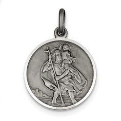Sterling Silver Antiqued St. Christopher Medal