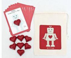 Robot valentine's cards kit for kids, topped with a heart-shaped crayola