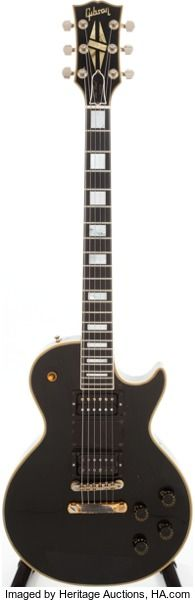 Musical Instruments:Electric Guitars, Steve Marriott's 1957 Gibson Les Paul Custom Black Solid BodyElectric Guitar, Serial # 7-8756....