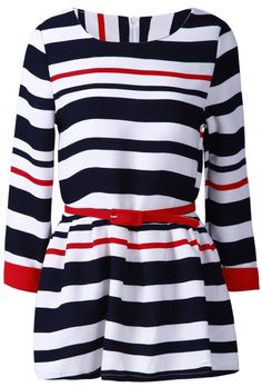 Navy White Striped Long Sleeve Belt Ruffles Dress